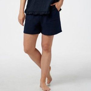 AnyBody French Terry Tie Waist Shorts Navy 5213